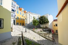 Alfama streets in Lisbon, Portugal royalty free stock photo