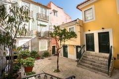 Alfama streets in Lisbon, Portugal stock photos