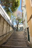 Alfama streets in Lisbon, Portugal stock images