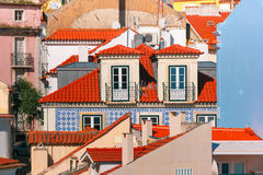 Alfama on a sunny afternoon, Lisbon, Portugal. Aerial view of Alfama, the oldest district of the Old Town on the sunny afternoon, Lisbon, Portugal Royalty Free Stock Images