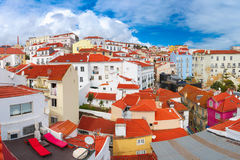 Alfama on a sunny afternoon, Lisbon, Portugal. Aerial view of Alfama, the oldest district of the Old Town on the sunny afternoon, Lisbon, Portugal Royalty Free Stock Image