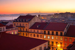 Alfama at sunset, Lisbon Royalty Free Stock Photography