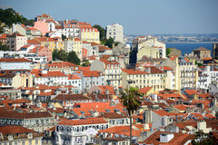 Alfama and Tagus River, Lisbon, Portugal Stock Photo