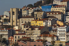 Alfama from Tagus River Royalty Free Stock Images