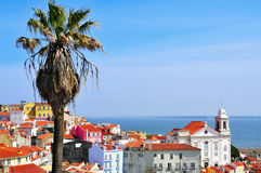 Alfama and the Tagus River in Lisbon, Portugal Royalty Free Stock Photography
