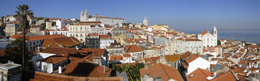 Alfama urban district panorama of Lisbon. royalty free stock images