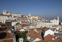Alfama urban district panorama of Lisbon. Stock Photography