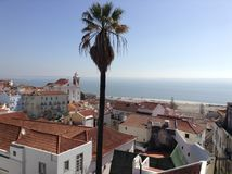 Alfama. View of the oldest district of Lisbon and the River Tagus, Portugal Royalty Free Stock Photography