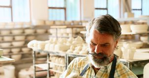 Alfarero de sexo masculino que comprueba el trabajo de arte de cerámica 4k almacen de metraje de vídeo