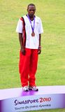Alfas Kishoyan. Youth Olympic Games 2010 Singapore (Bishan Stadium) boys 400m bronze medalist, Alfas Kishoyan of Kenya royalty free stock image