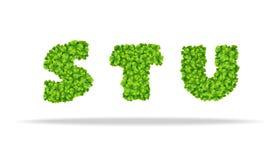 Alfavit dalle foglie del trifoglio Lettere STU Immagini Stock