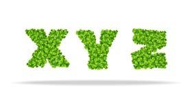 Alfavit dalle foglie del trifoglio Lettere XYZ Immagini Stock