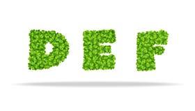 Alfavit von den Blättern des Klees Buchstaben DEF Stockfotos