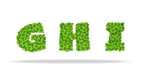 Alfavit von den Blättern des Klees Buchstaben GHI Stockfoto