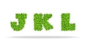 Alfavit von den Blättern des Klees Buchstaben JKL Stockfotos