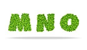 Alfavit von den Blättern des Klees Buchstaben MNO Stockfotos