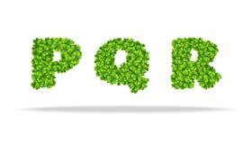 Alfavit von den Blättern des Klees Buchstaben PQR Lizenzfreie Stockfotografie