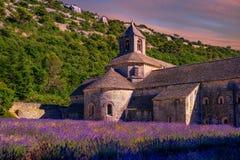 A alfazema coloca no monastério de Senanque, Provence, França foto de stock royalty free