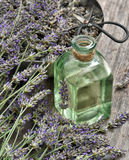 A alfazema de Dreied floresce com óleo erval e tesouras Homeopathi Imagens de Stock Royalty Free