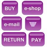 A alfazema e-compra ícones Imagem de Stock Royalty Free