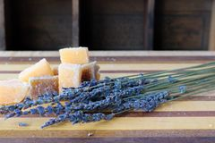 A alfazema e o açúcar esfregam cubos foto de stock