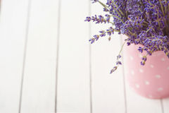 A alfazema floresce na lata molhando, fundo de madeira, espaço da cópia foto de stock