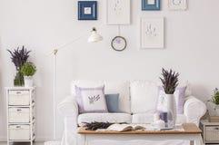 A alfazema floresce no armário ao lado da lâmpada e do sofá branco no interior da sala de visitas com tabela e cartazes Foto real imagem de stock royalty free