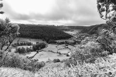 Alferes Caldera Black and White. Black and white view of the Smaller Alferes Caldera and farmland royalty free stock photography