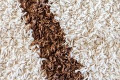 Alfombra blanca con una textura marrón de la raya Fotografía de archivo libre de regalías