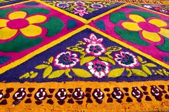 Semana Santa, The Alfombra Carpet Design. The Alfombra, or carpet, is a traditional temporary street painting done by hand using stencils and colored sawdust stock images
