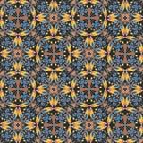 Alfombra colorida oriental fina u ornamento de cerámica en colores anaranjados y azules con las curvas blancas en fondo negro Foto de archivo libre de regalías