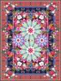 Alfombra con el mandalaflower, Paisley, las guirnaldas florales y el marco ornamental Estilo étnico Motivos indios ilustración del vector
