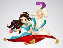 Alfombra de Aladdin And Princess On Flying Fotografía de archivo
