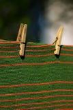 Alfombra enclavijada a una cuerda para tender la ropa Fotografía de archivo libre de regalías