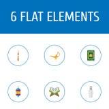 Alfombra plana del rezo de los iconos, árabe, lámpara islámica y otros elementos del vector Sistema de Ramadan Flat Icons Symbols Imagen de archivo libre de regalías