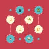 Alfombra plana del rezo de los iconos, dromedario, mujer musulmán y otros elementos del vector Sistema de símbolos planos de los  stock de ilustración