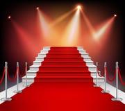 Alfombra roja con las escaleras stock de ilustración