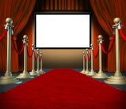 Alfombra roja de las cortinas del espacio en blanco de la etapa del cine Imagen de archivo libre de regalías