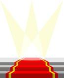 Alfombra roja para las personas del VIP, e iluminación El ejemplo del vector hace Foto de archivo