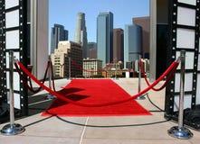 Alfombra roja y Los Ángeles dow Foto de archivo