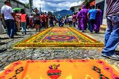 Alfombras procesionales prestadas, Antigua, Guatemala Imagenes de archivo
