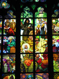 Alfons Mucha's stained-glass. Window at Praha/Prague stock image