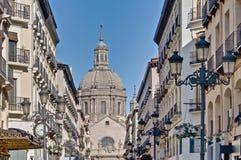 Alfonso I street at Zaragoza, Spain royalty free stock photography