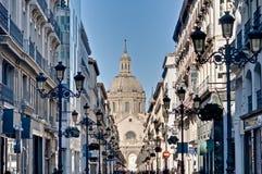 Alfonso I street at Zaragoza, Spain stock photography