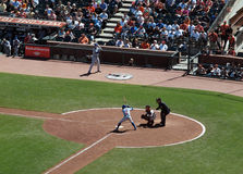 Alfonso Soriano at bat with Buster Posey Catching Stock Image