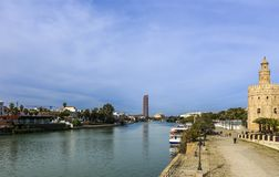 Alfonso XII Canal and Torre del Oro on the right royalty free stock photography
