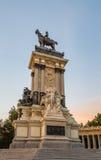 Alfonso XII monument in Buen Retiro park, Madrid stock photo