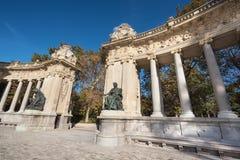 Alfonso XII monument in Retiro park, Madrid, Spain. Stock Image