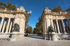 Alfonso XII monument in Retiro park, Madrid, Spain. Royalty Free Stock Image