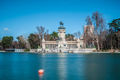 Alfonso XII statue on Retiro Park in Madrid. stock image